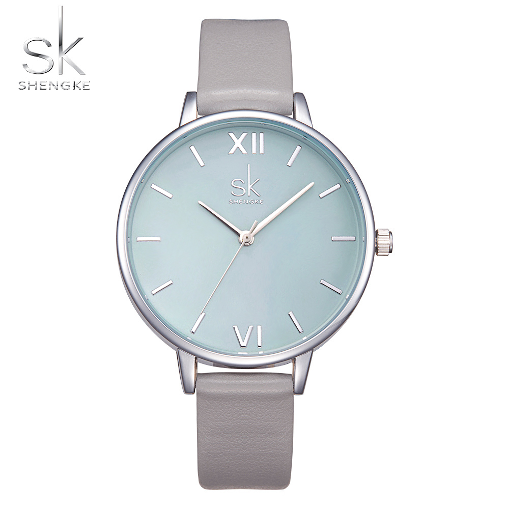Shengke Watches Women Fashion Watch 2017 New Elegant Dress Leather Strap Ultra Slim Wrist Watch Montre Femme Reloj Mujer 2017