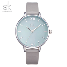 Shengke Watches Women Fashion Watch 2017 New Elegant Dress Leather Strap Ultra Slim Wrist Watch Montre Femme Reloj Mujer 2017
