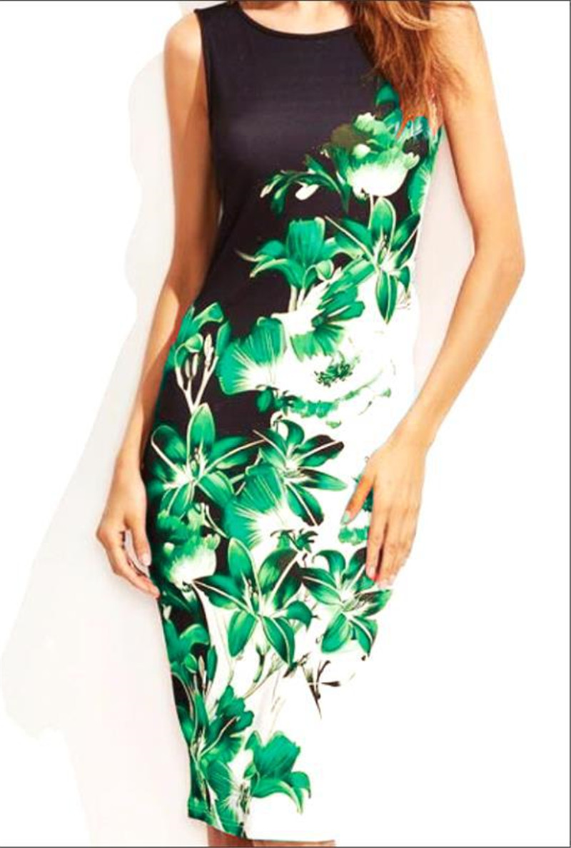 Sleeveless Print Dress Slim Bodycon Pencil Midi Office Dress