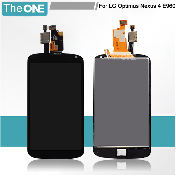 For LG Optimus E960 Google Nexus 4 LCD touch Glass screen with Digitizer Assembly Black Replacement Free shipping new lcd touch screen digitizer with frame assembly for lg google nexus 5 d820 d821 free shipping
