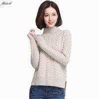 Новые зимние женские чистый кашемировый свитер Пуловеры половина водолазка сплошной цвет женские эластичные трикотажные чистого кашемиро