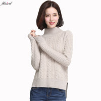 new winter women pure cashmere sweater pullovers half turtleneck solid color elastic female knitted pure cashmere sweaters L130