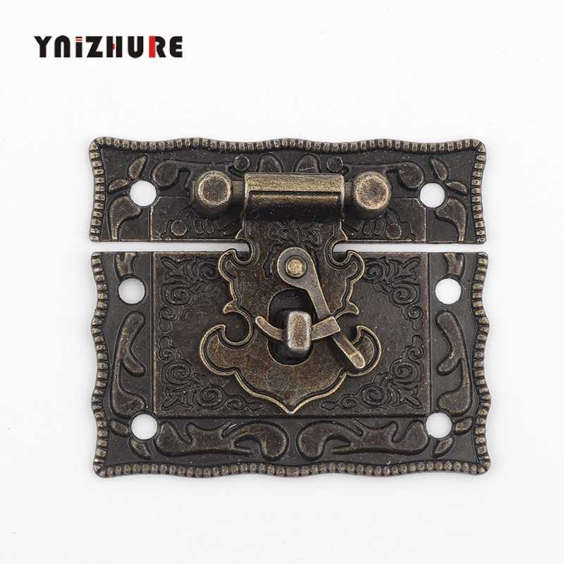 51*43mm Antique Lock Box Suitcase Toggle Latch Buckles Wooden Box Lock Bronze Tone Home DIY Wood Working 1PC