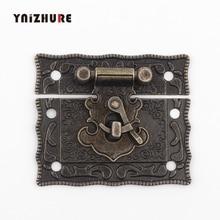 51*43mm antigua cerradura caja maleta pestillos cerradura para caja de madera bronce tono hogar DIY madera trabajo 1PC