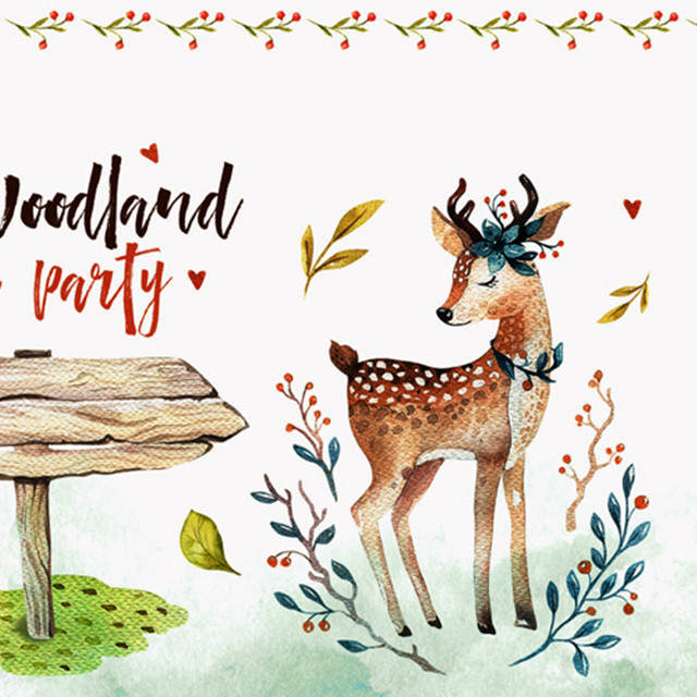 60x148cm Cotton Linen Fabric Positioning Printed Woodland Party Deer