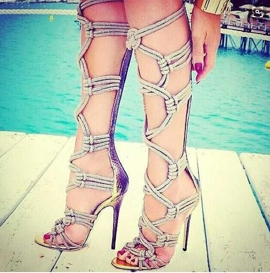 Sexy Braided Rope Sandal Boots High Heel Cut-out Gladiator Sandal Boots For Women Thin Heels Summer Dress Shoes Size 10 ледянка 1toy cut the rope cut the rope