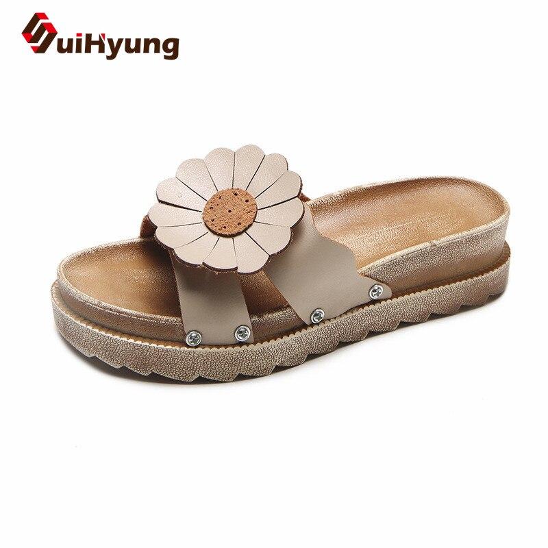 Suihyung 2018 New Women Platform Slippers Sunflower Pu -3102