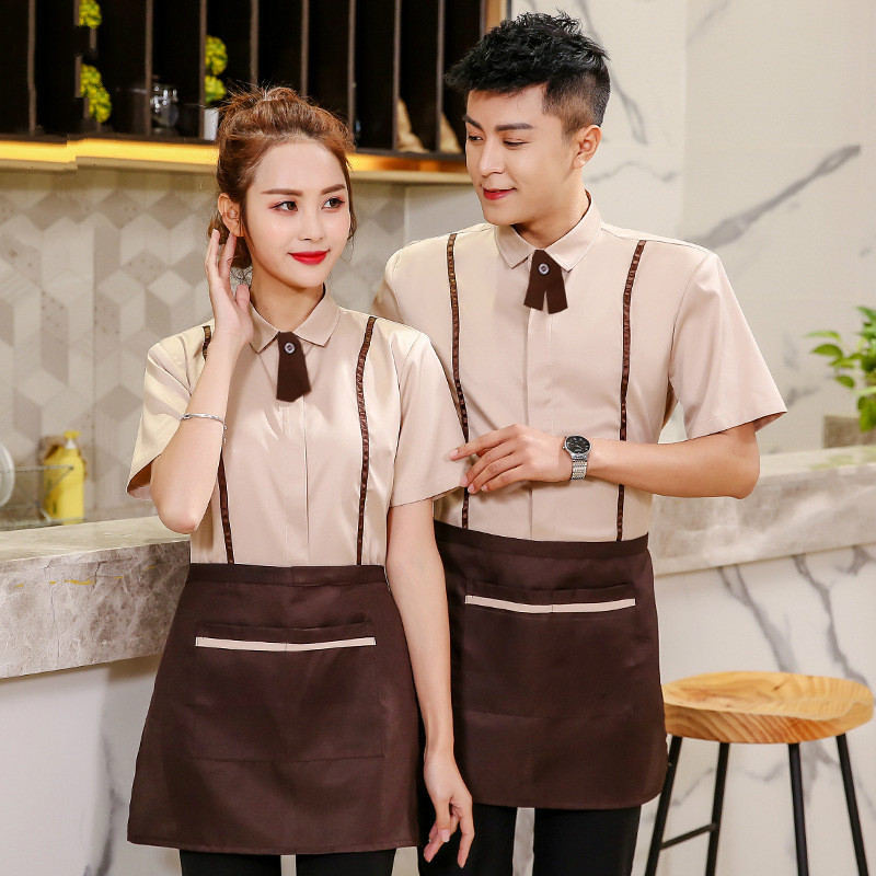 Short-sleeved Hotel Restaurant Waiter Uniforms Cafe Shop Work Clothing Fast Food Food Service Work Wear Chef Work Jacket