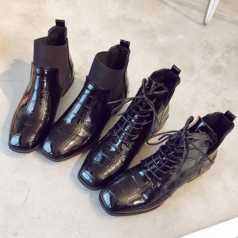 2019 Martin Zapatos Con Charol Estilo Cordones Mujer De Nuevas Británico Primavera Bajo black2 Otoño Botas Tacón Negro rwBrU