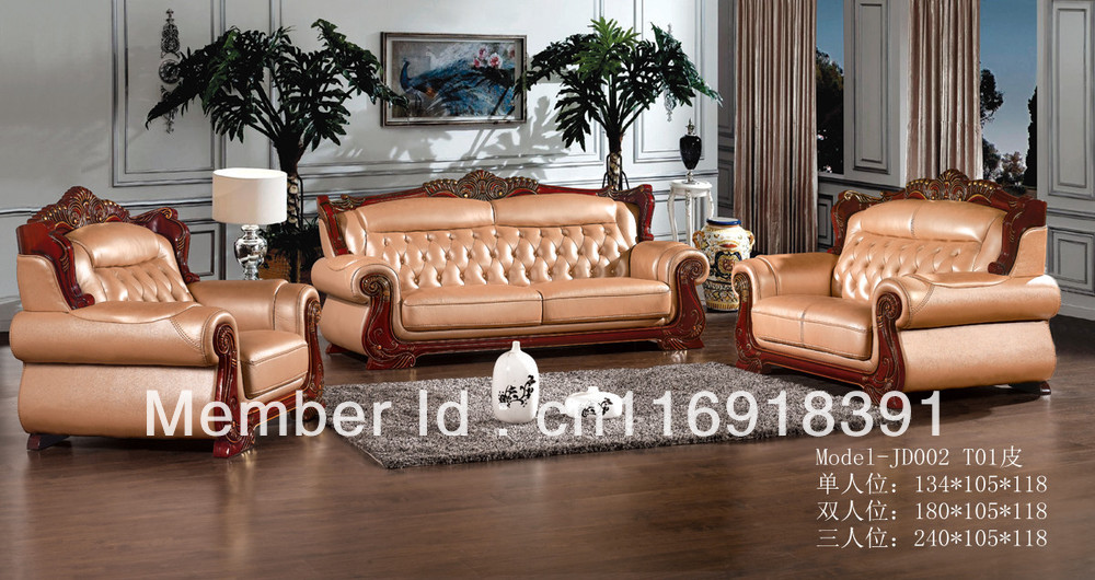 wood frame sofa designs broyhill european style antique design genuine leather for setting room usage with carving 1 2 3 jd002 in living sofas from furniture on