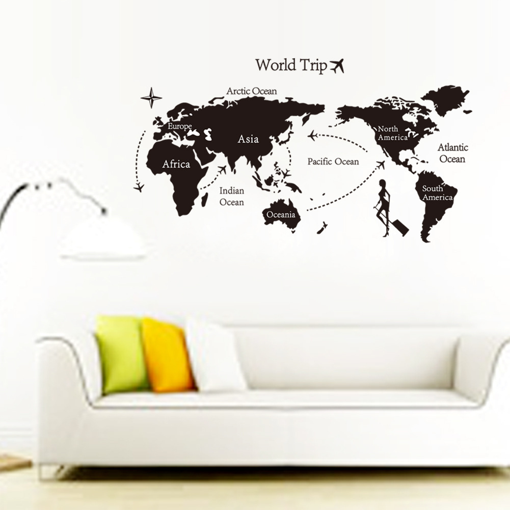 Travel The World Map Background Wall Mura Wall Stickers Home Decor Bedroom Wall Room Kids Decals