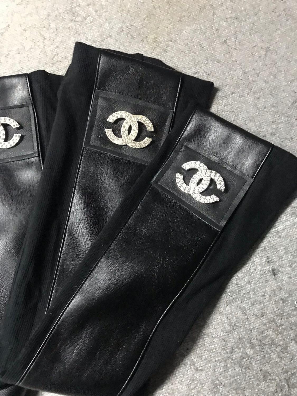 Fashion Leather Cotton Leg Warmers High Knee Winter Leg Warmers For Women Spell Leather Leg Warmers