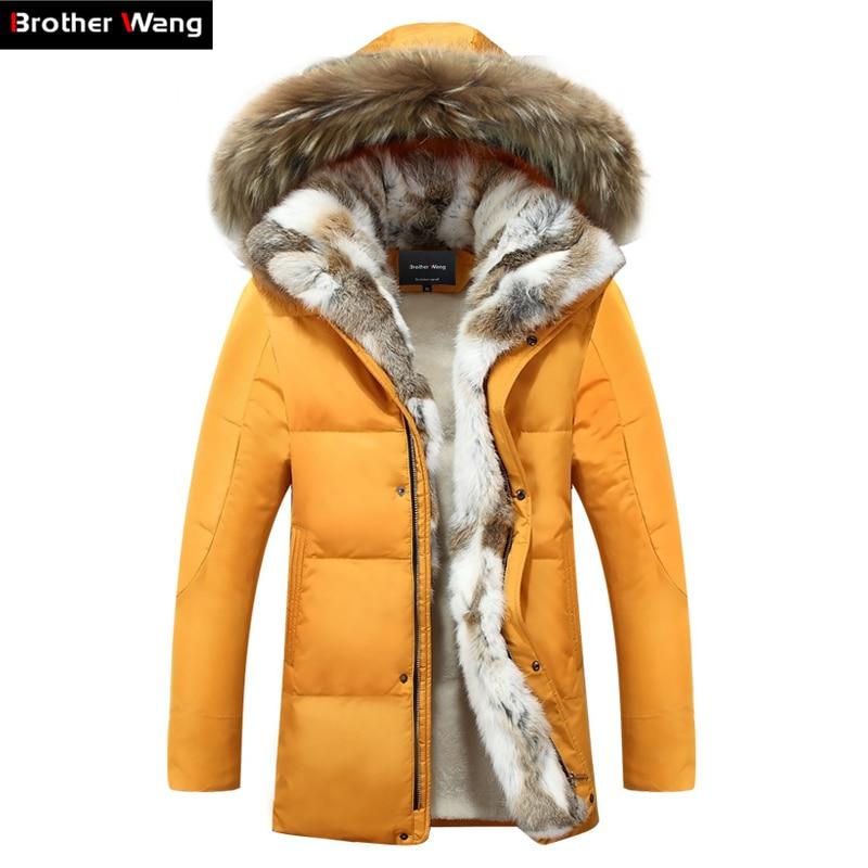 Зимняя куртка Для мужчин высокого качества Для мужчин; длинное пальто Мода Большой волосы воротник толще тепло с капюшоном для отдыха парк ...