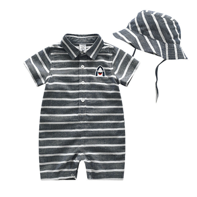 2018 New Cotton Baby Boy Clothes Summer Toddler Boys Striped Rompers+Sunhat 2pcs Clothing Set Gentleman Suit Kids Clothes