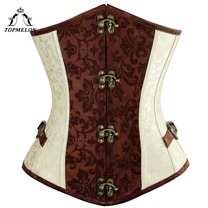 TOPMELON Steampunk Underbust   Corset     Bustier   Gothic   Corset   Women Corselet Sexy   Corset   Retro Floral Buckle Party Shows   Corset   Tops
