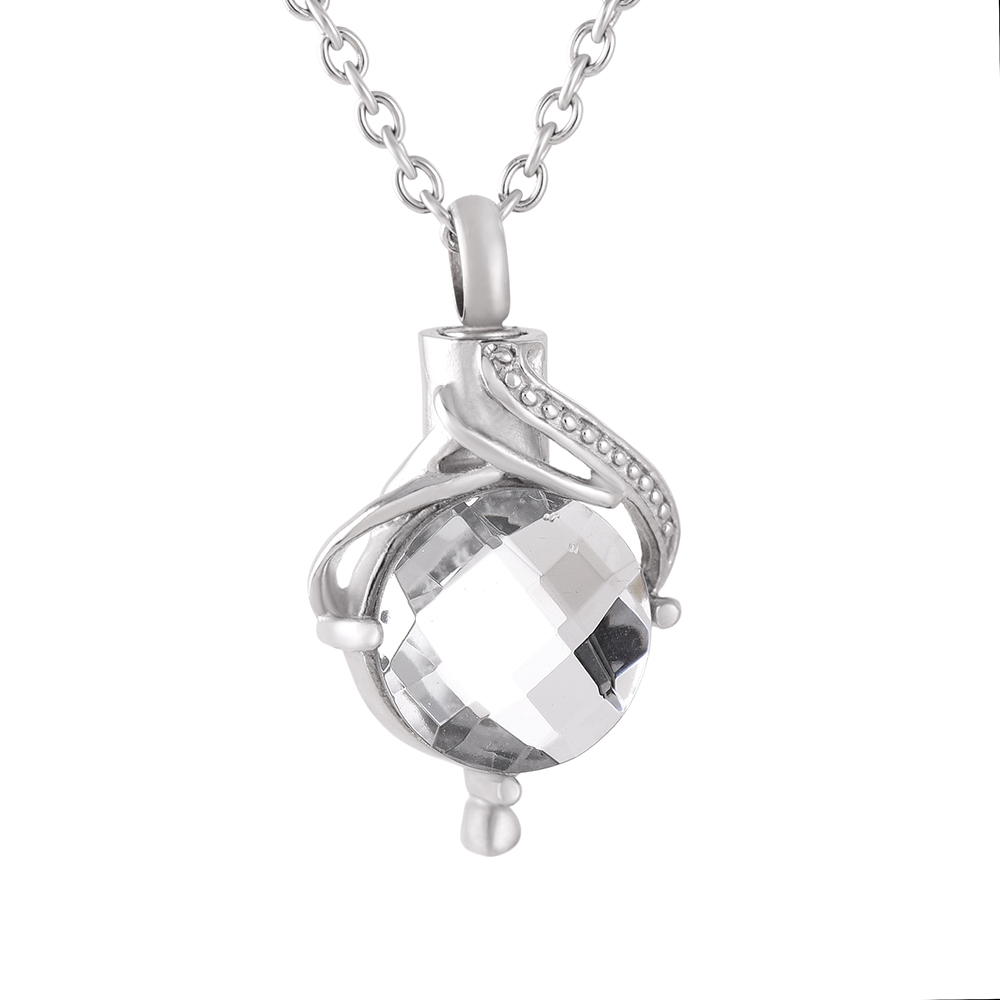 IJD9056 Wholesale Cabochon Clear Shiny Rhinestone&Crystal Women&Man Charm Stainless Steel Cremation Jewelry Pendant Necklaces