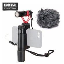 BOYA by-mm1 микрофон с ручкой RIG для смартфонов YouTube livestream видео Захват для IPhone X 8 7 Plus Huawei Xiaomi samsung