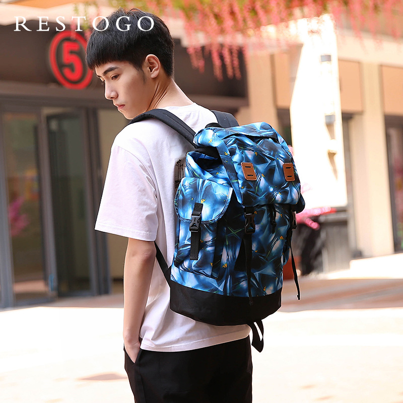 Men backpack polyester waterproof printing women backpack leisure tourism neutral back pack scenery pattern school backpack