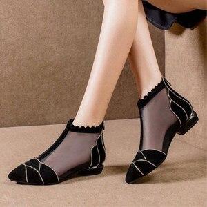 Image 4 - Botas de tornozelo 2020 nova sexy oco marcas de luxo salto alto mulher excelente senhoras sapatos malha boot sapato feminino botines mujer