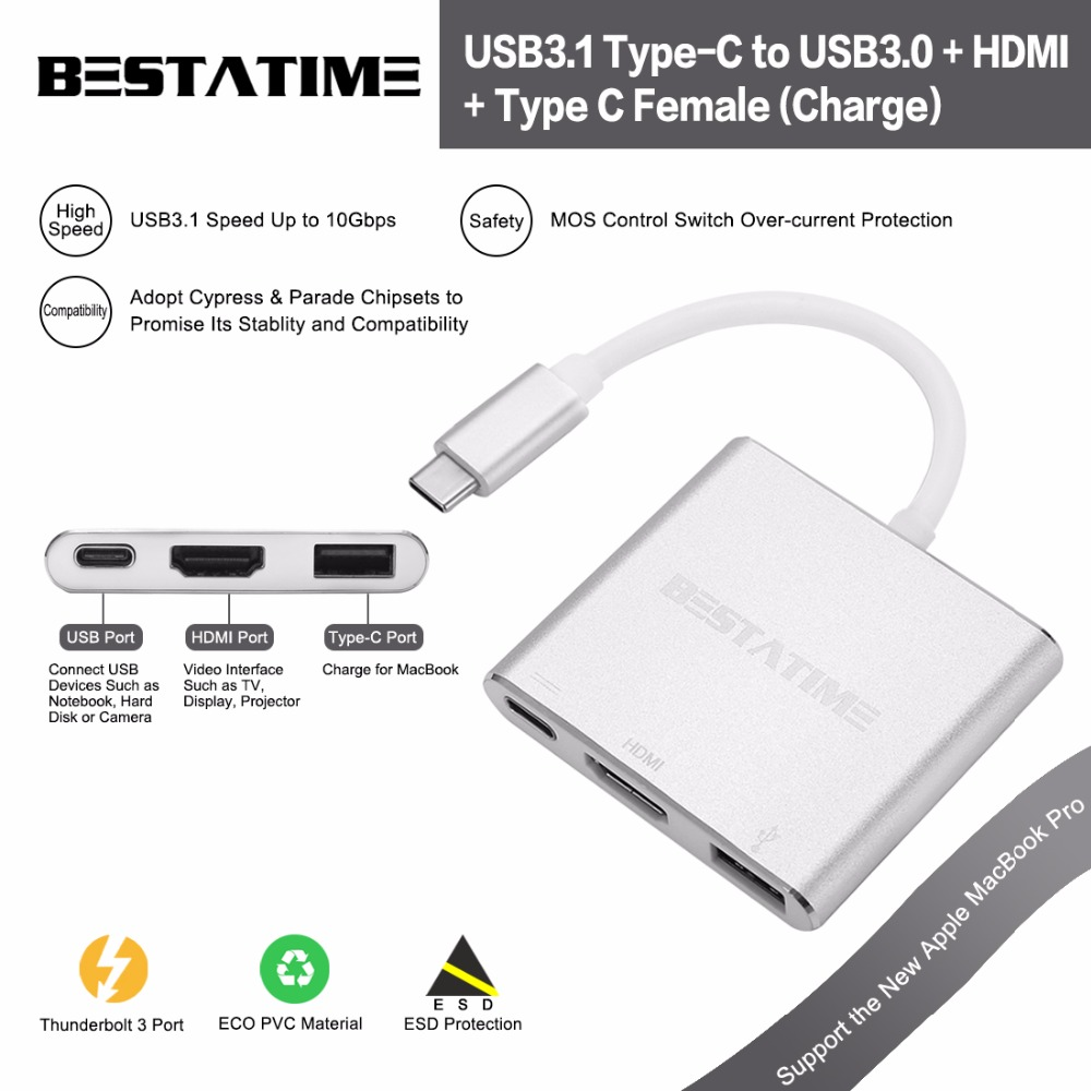 BESTATIME USB 3.1 Type-C to USB 3.0/ USB C/HDMI Adapter, Aluminum Type-C Multi-Port Hub with Type-C Charging Port