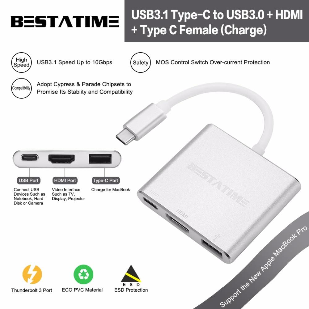 ФОТО BESTATIME USB 3.1 Type-C to USB 3.0/ USB C/HDMI Adapter, Aluminum Type-C Multi-Port Hub with Type-C Charging Port