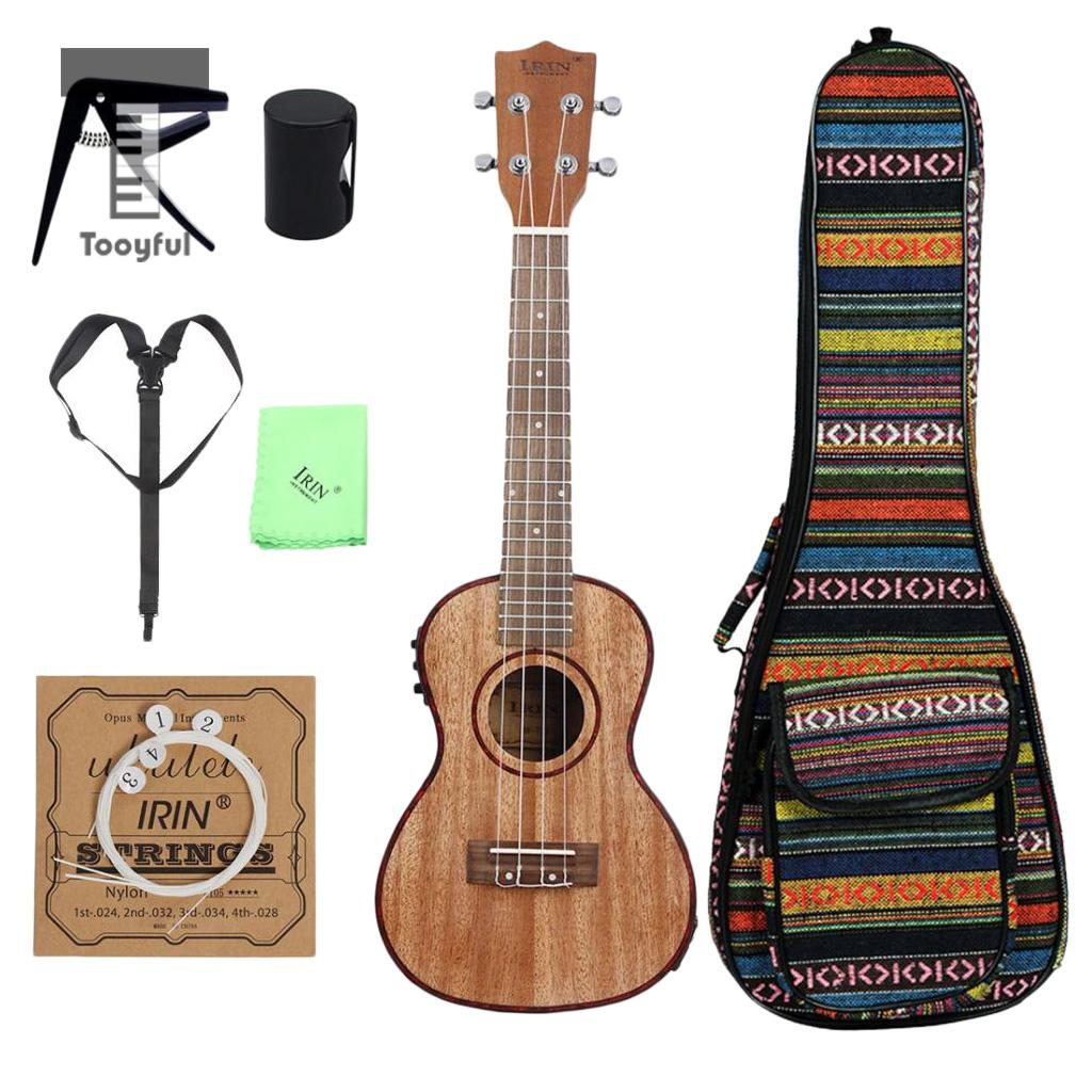 Tooyful IRIN 24inch EQ 4 Strings Concert Ukulele Sapele Acoustic Electric Uke Hawaiian Guitar Musical Instrument for Students