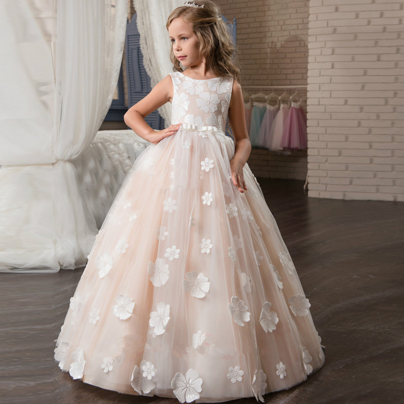 Blush Lace Flower Girl Dresses For Weddings Hand Made Flowers Appliques First Communion Dresses Girls Pageant Gown Vestidos
