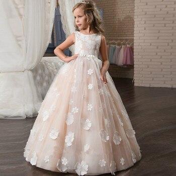 73e86109a Encaje de niña de las flores Vestidos para bodas hecho a mano apliques de  flores de primera comunión Vestidos de chicas niñas vestido Vestidos