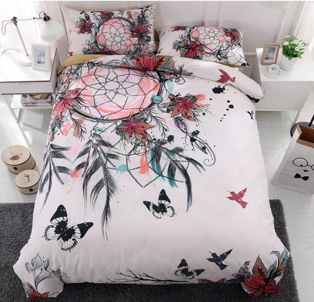 40D Dreamcatcher Bedding Set Feather Flower Bohemian Mandala Bedding New Dream Catcher Comforter