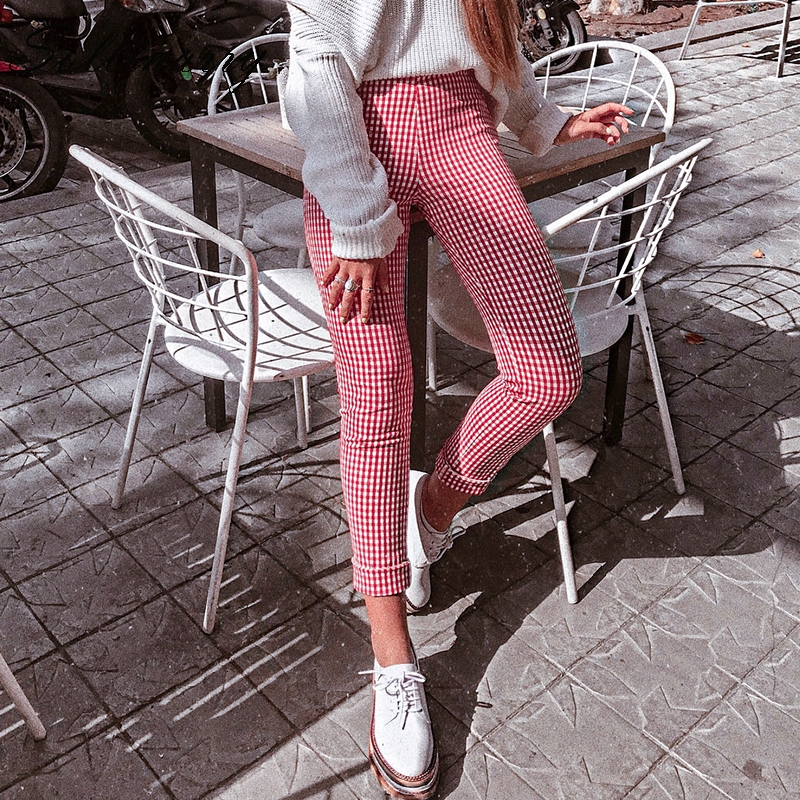 Sollinarry Red Plaid Casual Women   Pants   Skinny   Capris   High Waist Stretch Trousers High Street Pantalon Femme Long Pencil   Pants