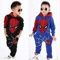 Nuevos Bebés del Otoño del Resorte Deportes del Hombre Araña traje de 2 unidades set Chándales Ropa Niños sets 100-140 cm Casual ropa Coat + Pant