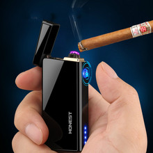 New metal windproof electronic lighter charging creative personality USB men Laser Double arc cigarette Lighter smoker