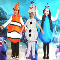 Finding Nemo Clownfish Costumes Nemo Dory Marlin Olaf Kids adult Cosplay Hallowmas best birthday gift for a PROM baby Costumes