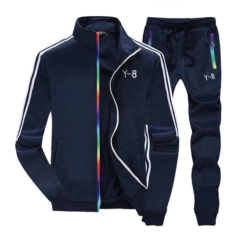 Модный спортивный костюм из 2 предметов для мужчин, коллекция 2019 года, осенняя Спортивная одежда для мужчин, s комплект, свитшот на молнии с капюшоном, куртка + брюки Moleton Masculino, комплект из 2 предметов