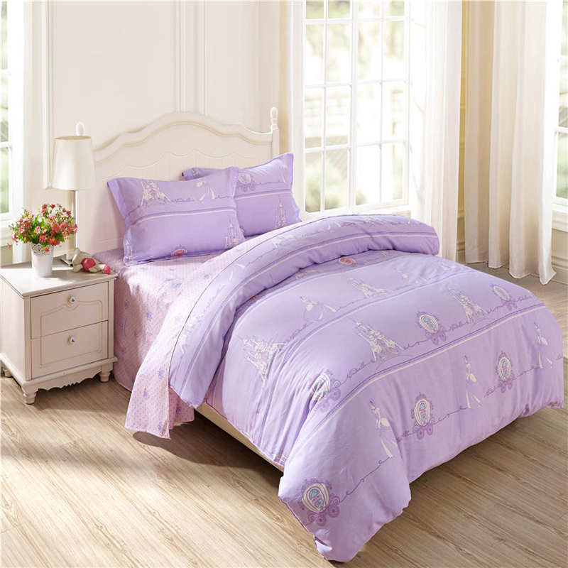 new 3d disney princess bedding set twin queen size bed linen purple girl bedroom decor home textile single full bed cover sheet