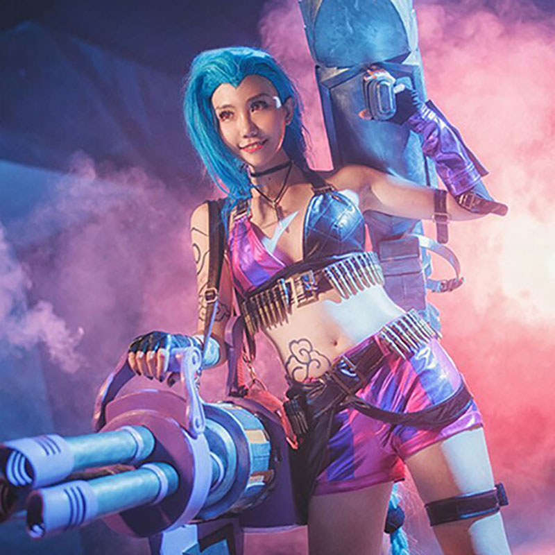 Game LOL <font><b>Loli</b></font> Jinx Cosplay <font><b>Costumes</b></font> Halloween Party Magical Girl Sexy Uniforms Jinx TOP+Pant with Accessories <font><b>For</b></font> <font><b>Women</b></font> image