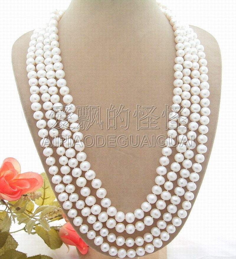 N051119 100 9mm AA White Pearl Long NecklaceN051119 100 9mm AA White Pearl Long Necklace