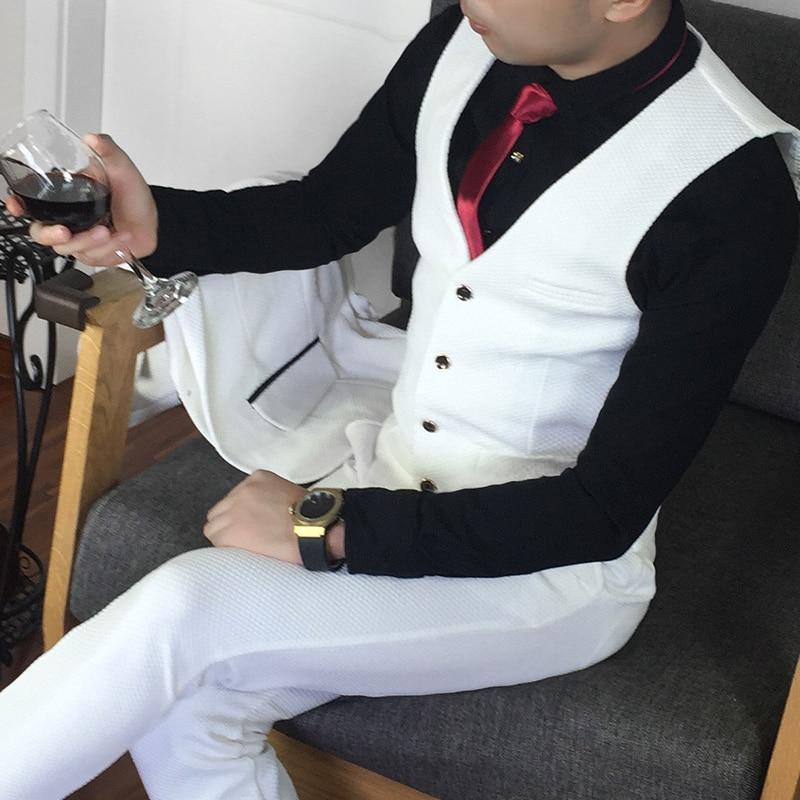 Más el tamaño 5xl traje masculino conjunto vestido formal Blanco - Ropa de hombre - foto 3