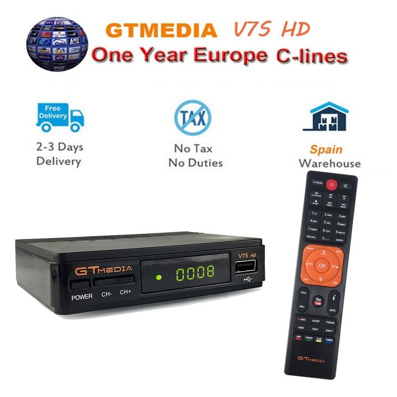 1 an CCcam europe clines TV box V7S HD récepteur Satellite Biss clé GT médias avec prise en charge USB WiFi DVB-S2 H.265 Full 1080P