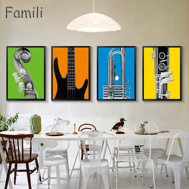 Modern Music Instrument Cool Guitar Canvas Painting Coffee Bar Wall Decor Room Studio