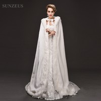 Winter Wedding Dress Accessories Jackets Long with Hats Faux Fur Wraps Wedding Graceful Long Cape with Hood S481