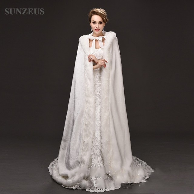 208bf4a2340 Winter Wedding Dress Accessories Jackets Long with Hats Faux Fur Wraps  Wedding Graceful Long Cape with