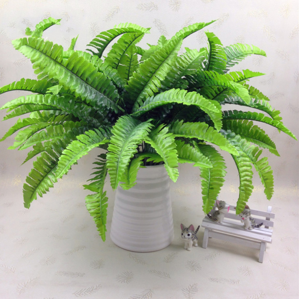 7 Fork Simulation Fern Grass Green Plant Artificial Fern Persian Leaves Flower Wall Hanging Plants Home Wedding Shop Decoration