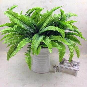 7 de la horquilla de simulación fern pasto planta verde helecho artificial persa hojas Pared de flores plantas colgantes de la boda inicio decoración de tienda