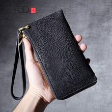 AETOO New retro leather long zipper wallet head layer cowhide handmade wallet