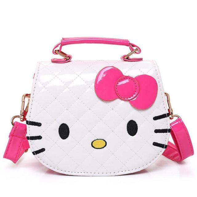 5b433205b7a9 Hot Fashion Hello Kitty Bow Messenger Bag For Girls PU Leather Crossbody  Shoulder Bag Handbags Flap Bags High Quality