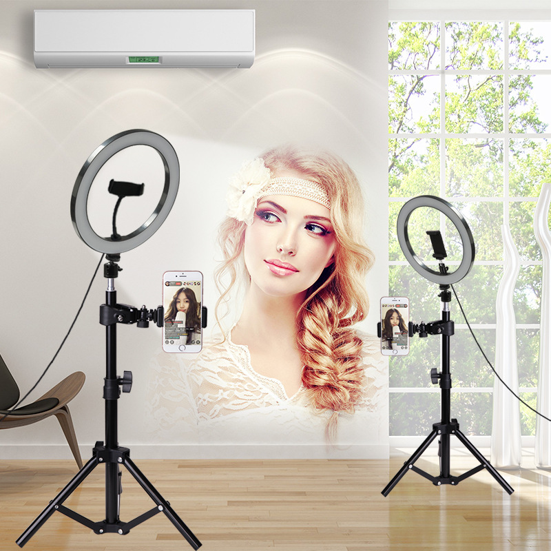 Lampa pierścieniowa led selfie kamera studyjna fotografia wzmacniająca 10 cali 26cm aparat fotograficzny lampa pierścieniowa ze statywem uchwyt na telefon USB w null od Telefony komórkowe i telekomunikacja na