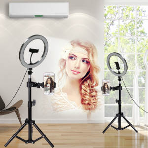 Led-Ring-Light Phone-Holder 10inch Camera with Tripod Usb-Plug Enhancing Selfie-Studio
