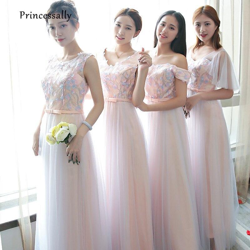 aee2fbcaf3 Nueva Colorete Rosa dama de honor vestido palabra de longitud Encaje  apliques Scoop mangas novia elegante prom party vestido formal robe de  soiree en ...