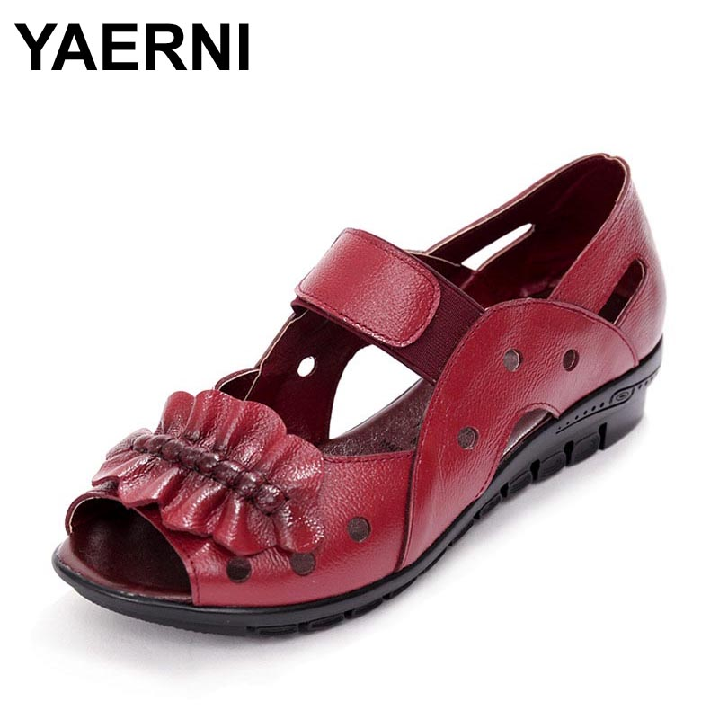 YAERNI Summer Women Shoes Woman Genuine Leather Flat Sandals Casual Open Toe Sandals Women Sandals drkanol women sandals 2018 genuine leather flat gladiator sandals for women summer casual shoes peep toe slip on vintage sandals